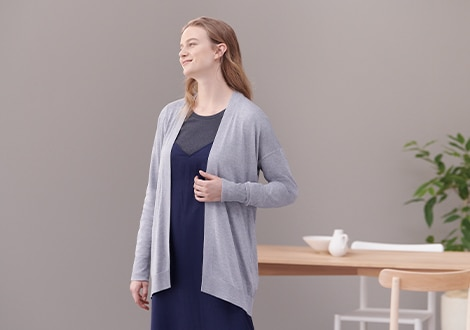 Rayon Silk Blend Relaxed Fit Cardigan