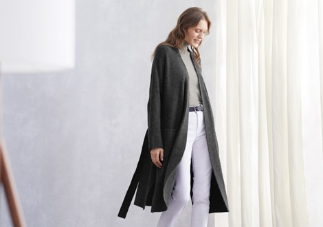 SOUFFLÉ YARN KNITTED BELTED LONG COAT
