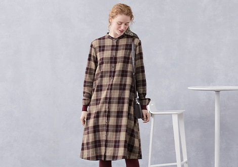 FLANNEL A LINE LONG SLEEVED SHIRT DRESS