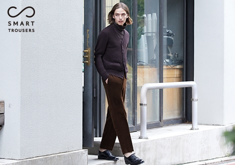 SMART CORDUROY ANKLE LENGTH TROUSERS