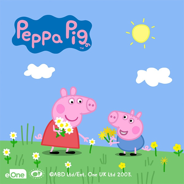 A smiling Peppa Pig and George before the franchise logo on a sky blue background