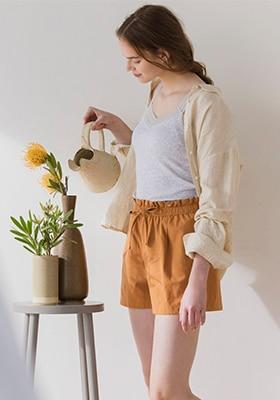 Cotton Linen Blend Relax Shorts