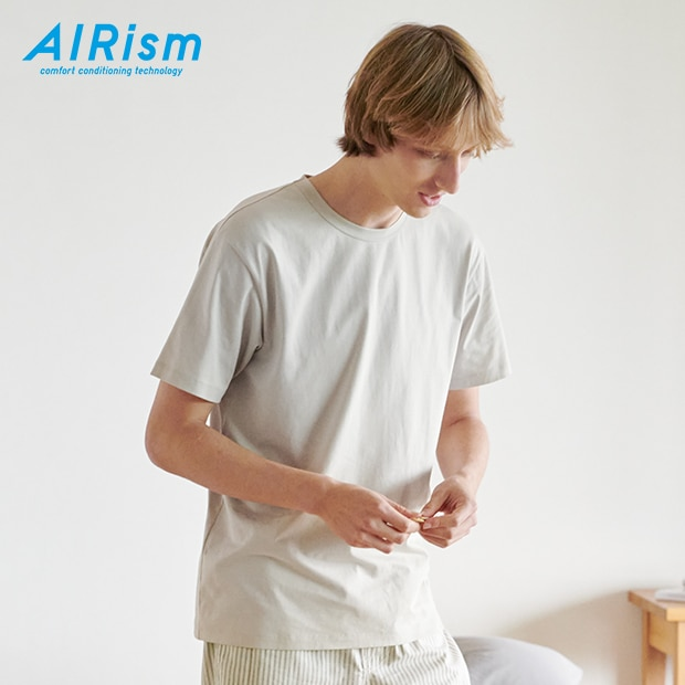 AIRISM COTTON CREW NECK SHORT SLEEVED T-SHIRT