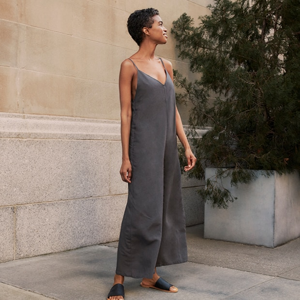A sleek, stylish jumpsuit with a cool feel.