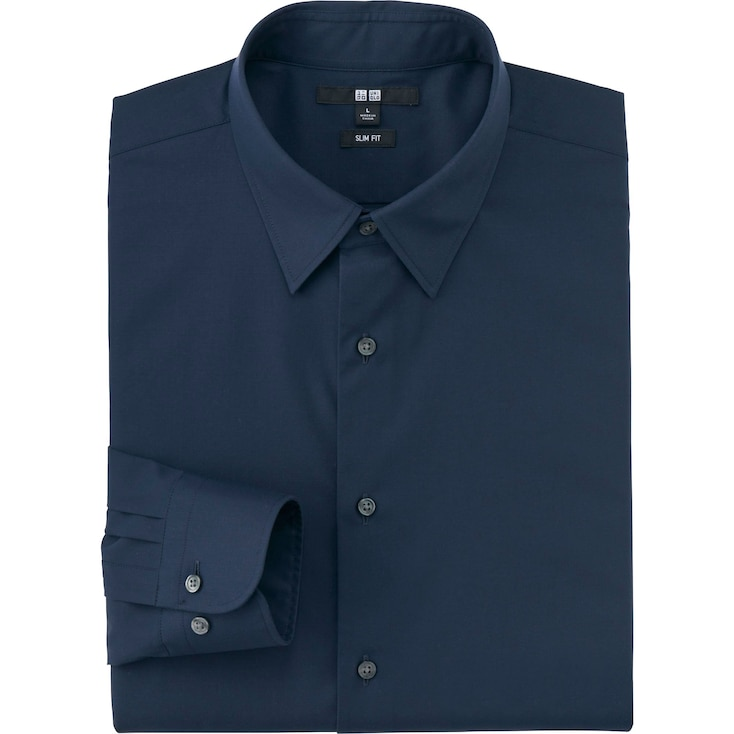 Men's Easy Care Broadcloth Slim-Fit Dress Shirt, NAVY, large