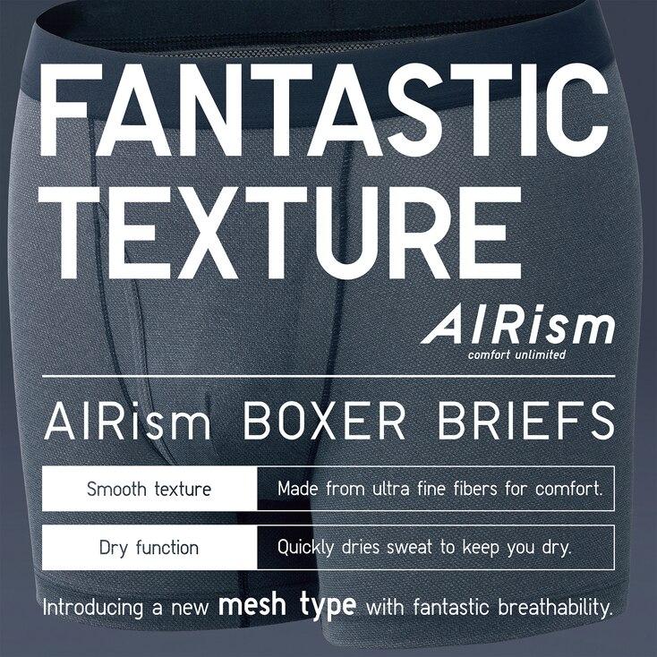 Men Airism Mesh Boxer Briefs, Light Gray, Large