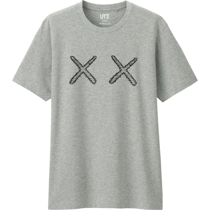 Men Kaws Graphic T-Shirt (Japan Size), Gray, Large