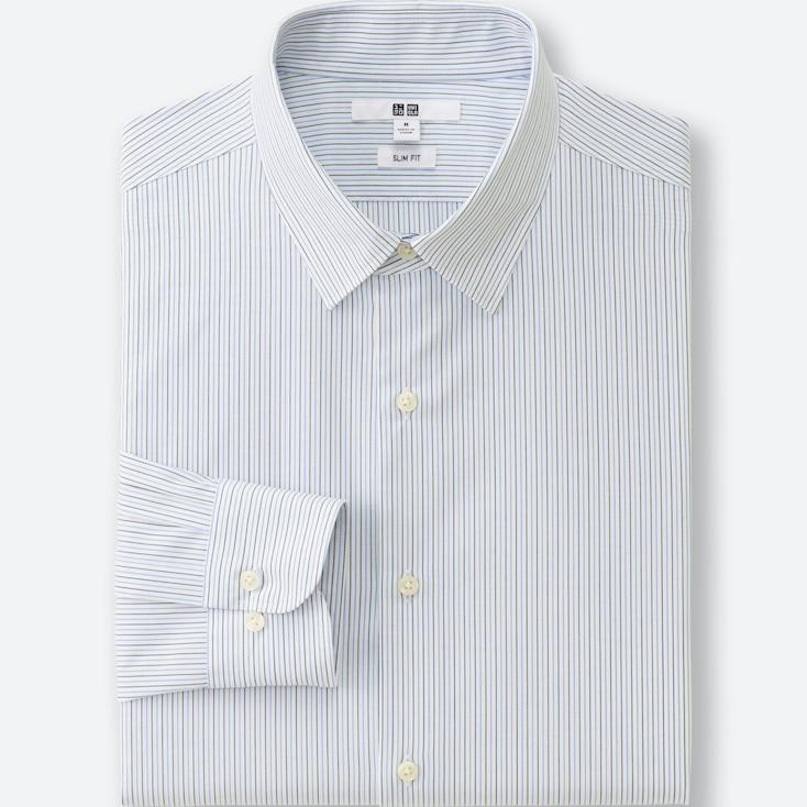 Men Easy Care Slim Fit Striped Long Sleeve Shirt, Blue, Large