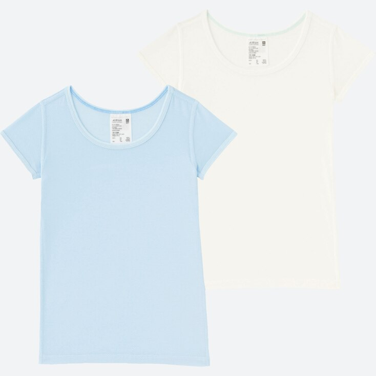 Toddler Airism Mesh T-Shirt 2-Pack, Light Blue, Large