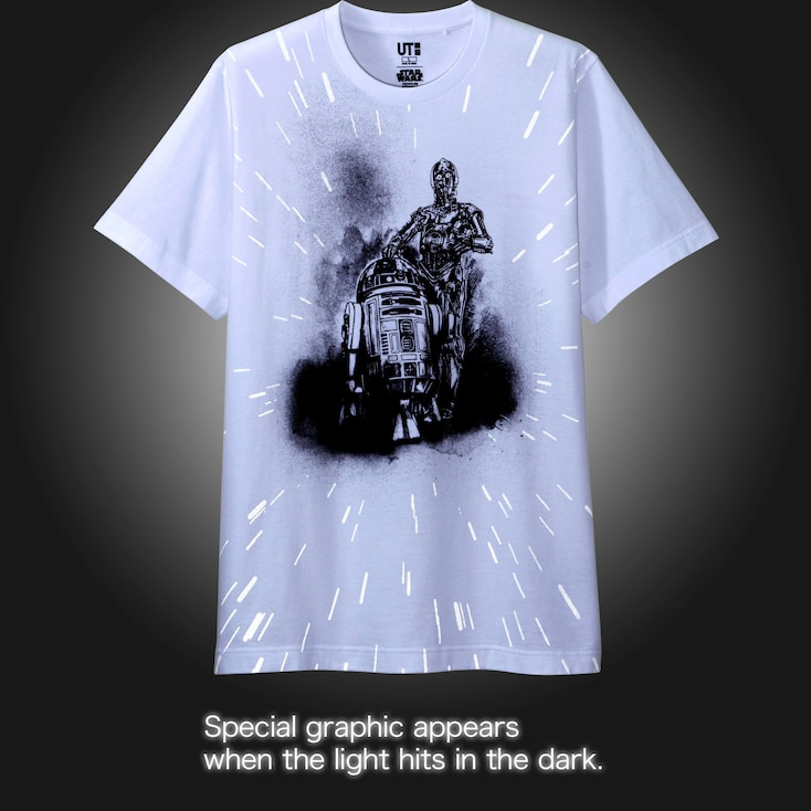 Men Reflective Print (Star Wars) Graphic T-Shirt, White, Large