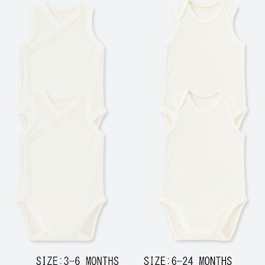NEWBORN MESH INNER SLEEVELESS BODYSUIT (SET OF 2), WHITE, medium