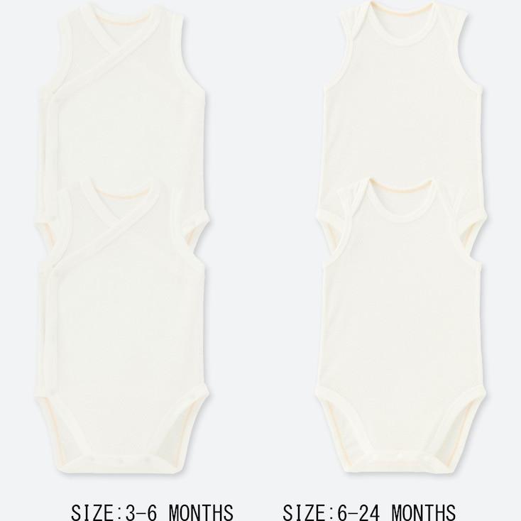NEWBORN MESH INNER SLEEVELESS BODYSUIT (SET OF 2), WHITE, large