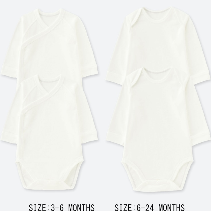 NEWBORN CREW NECK LONG-SLEEVE BODYSUIT (SET OF 2), WHITE, large