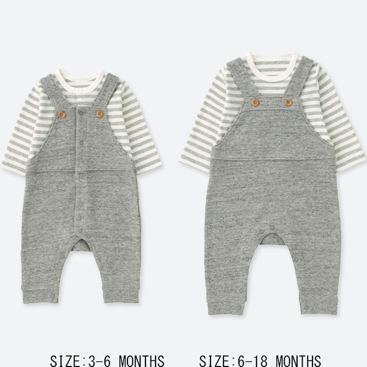 NEWBORN COORDINATED LONG-SLEEVE ONE-PIECE OUTFIT, GRAY, large
