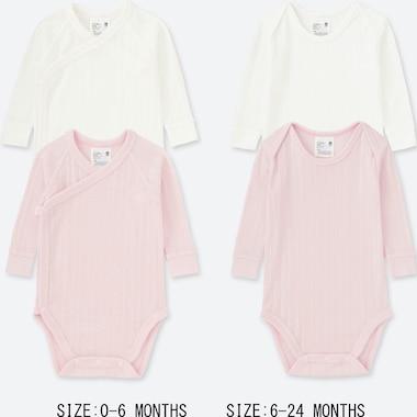 Newborn Crew Neck Long-Sleeve Bodysuit (Set Of 2), Pink, Medium