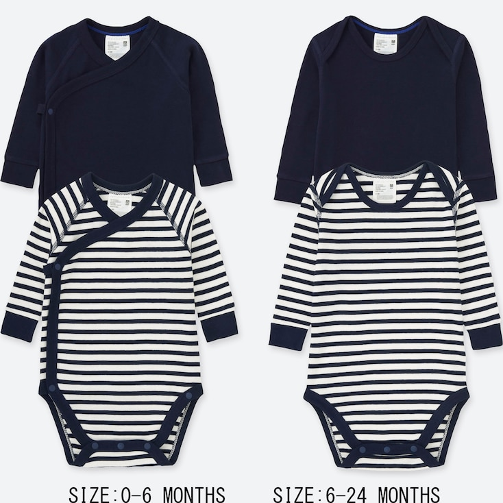 NEWBORN CREW NECK LONG-SLEEVE BODYSUIT (SET OF 2), NAVY, large