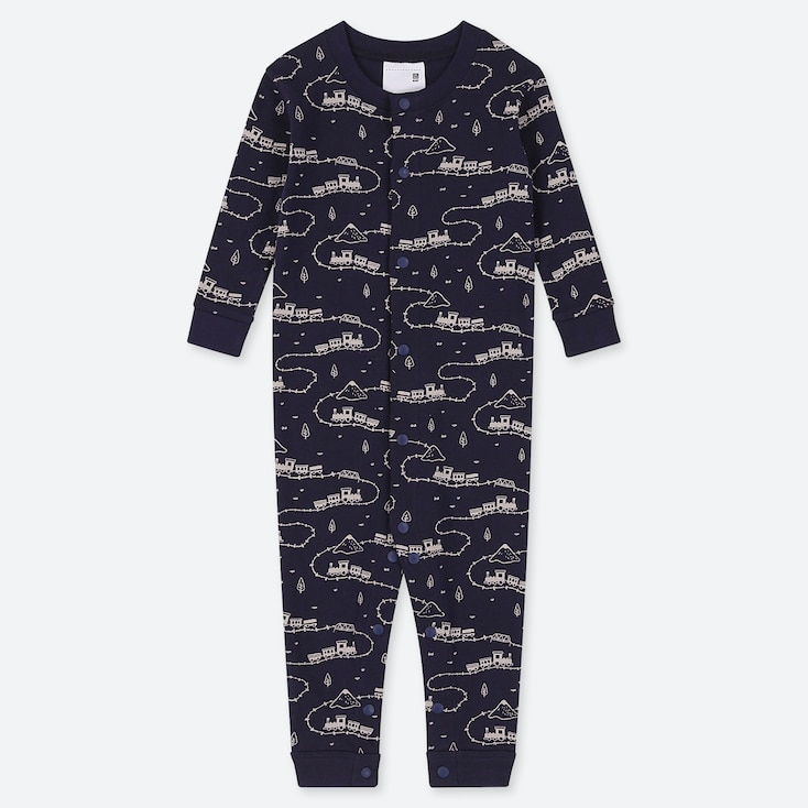 NEWBORN LONG-SLEEVE ONE-PIECE, NAVY, large