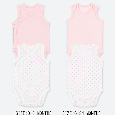 NEWBORN COTTON MESH INNER SLEEVELESS BODYSUIT (SET OF 2), PINK, medium
