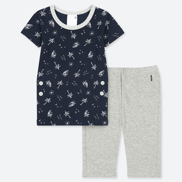 TODDLER SHORT-SLEEVE DRY PAJAMAS, NAVY, large