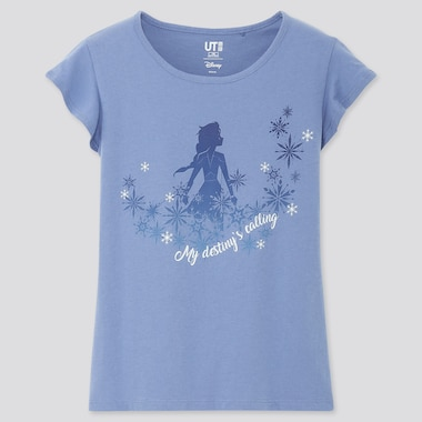 GIRLS DISNEY FROZEN 2 UT (SHORT-SLEEVE GRAPHIC T-SHIRT), BLUE, medium