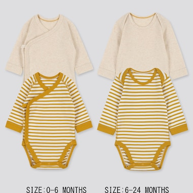 NEWBORN CREW NECK LONG-SLEEVE BODYSUIT (SET OF 2), YELLOW, medium