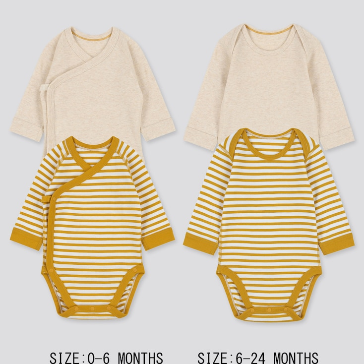 NEWBORN CREW NECK LONG-SLEEVE BODYSUIT (SET OF 2), YELLOW, large