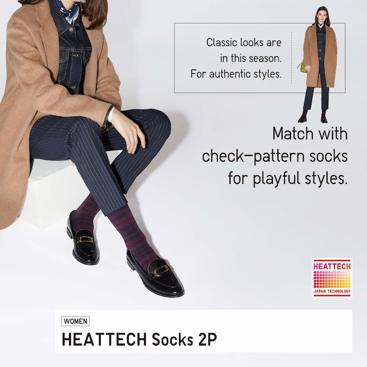Women Heattech Fair Isle Socks (2 Pairs), Off White, Large