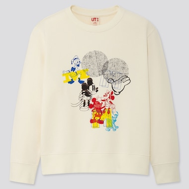 Kids Mickey Art Kate Gibb Sweatshirt, Off White, Medium