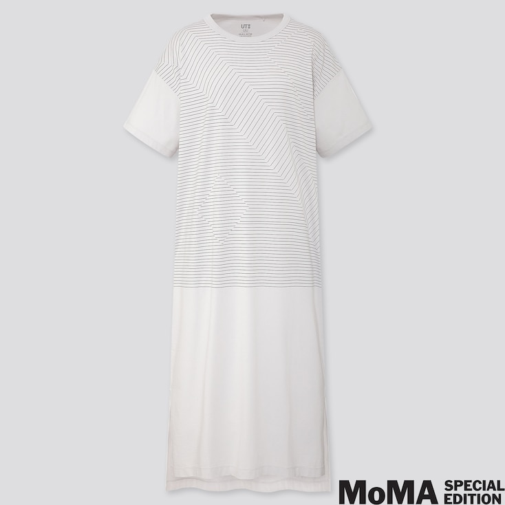 Women Color And Rhythm Lygia Pape Short-sleeve T-shirt Dress, Light Gray, Large