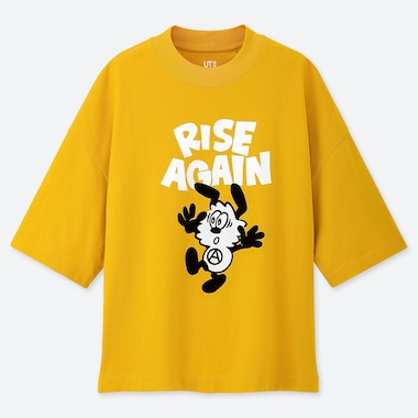 WOMEN RISE AGAIN BY VERDY UT (HALF-SLEEVE GRAPHIC T-SHIRT), YELLOW, medium