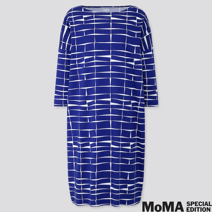 WOMEN COLOR AND RHYTHM HELIO OITICICA 3/4 SLEEVE T-SHIRT DRESS, BLUE, large