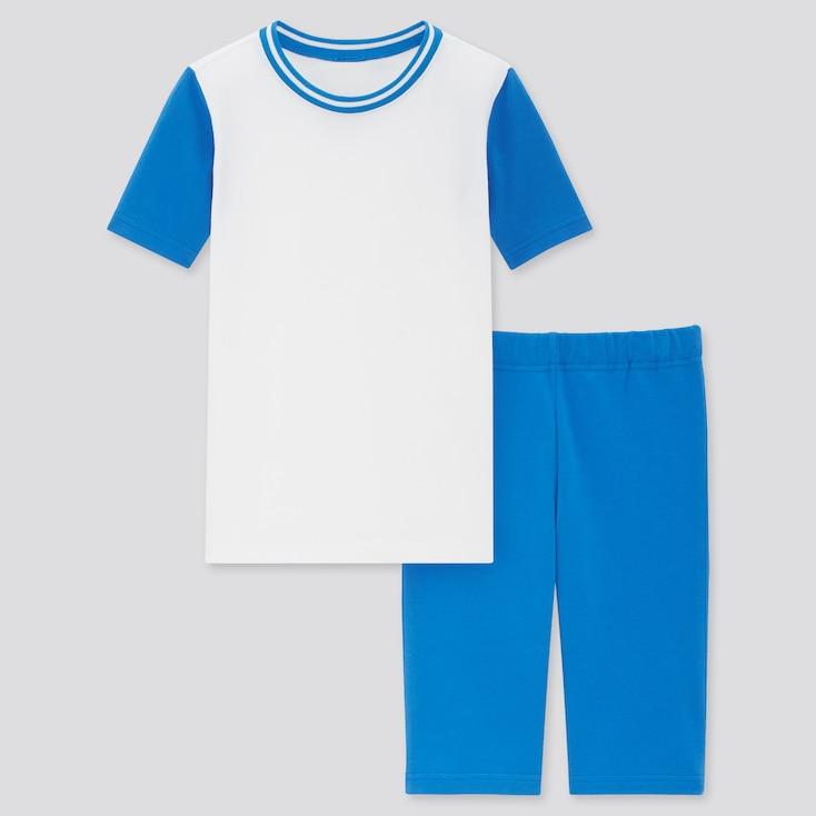 Kids Dry Stretch Short-Sleeve Set, Blue, Large