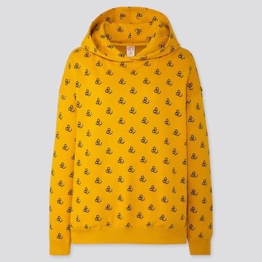 Women Mickey Art Yoon Hyup Long-Sleeve Hooded Sweatshirt, Yellow, Medium