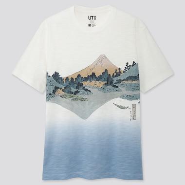 Edo Ukiyo-E Ut Katsushika Hokusai (Short-Sleeve Graphic T-Shirt), Off White, Medium
