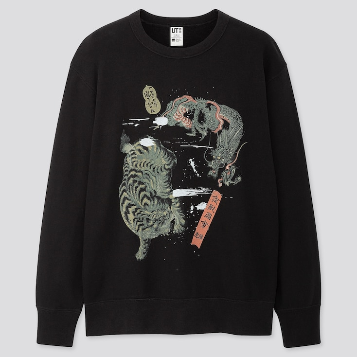 Edo Ukiyo-E Utagawa Kuniyoshi Long-Sleeve Sweatshirt, Black, Large