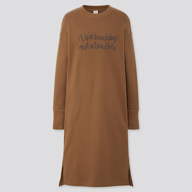 WOMEN RISE AGAIN BY VERDY SWEAT LONG-SLEEVE DRESS, BROWN, medium