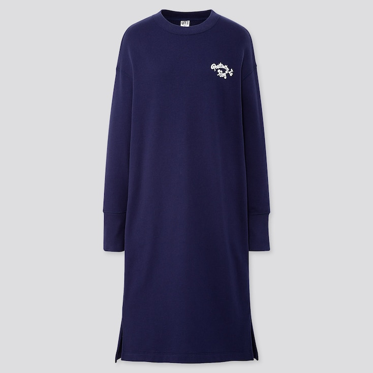 WOMEN RISE AGAIN BY VERDY SWEAT LONG-SLEEVE DRESS, NAVY, large