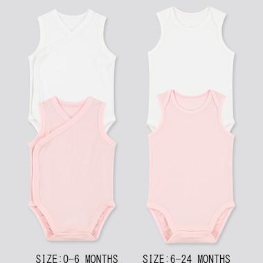 Newborn Airism Mesh Sleeveless Bodysuit (Set Of 2), Pink, Medium
