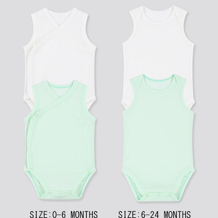 Newborn Airism Mesh Sleeveless Bodysuit (Set Of 2), Green, Large
