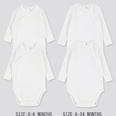 Newborn Crew Neck Long-Sleeve Bodysuit (Set Of 2), White, Medium