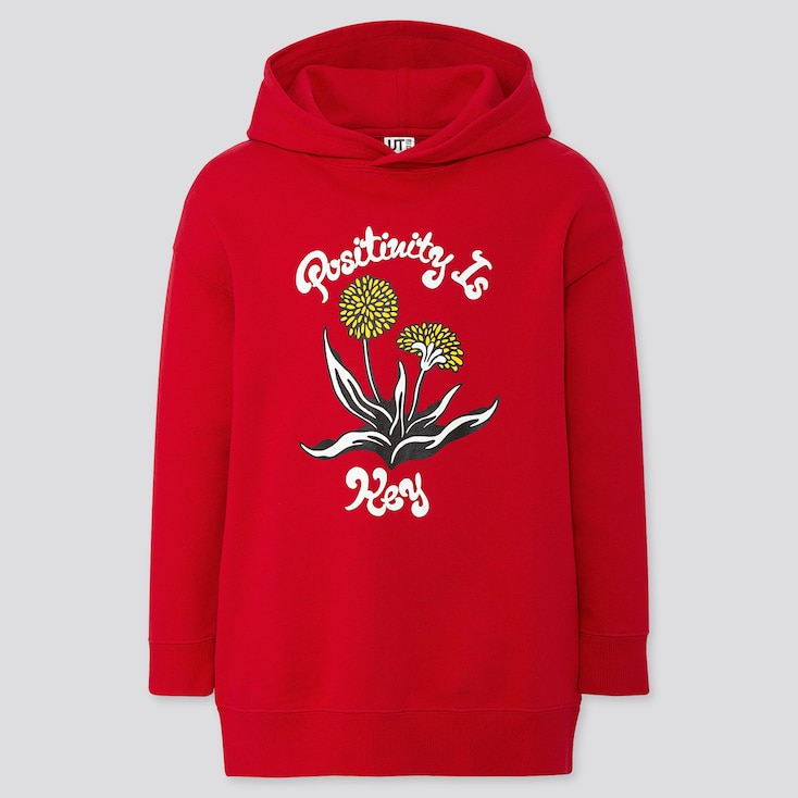 GIRLS RISE AGAIN BY VERDY SWEAT LONG-SLEEVE HOODIE TUNIC, RED, large