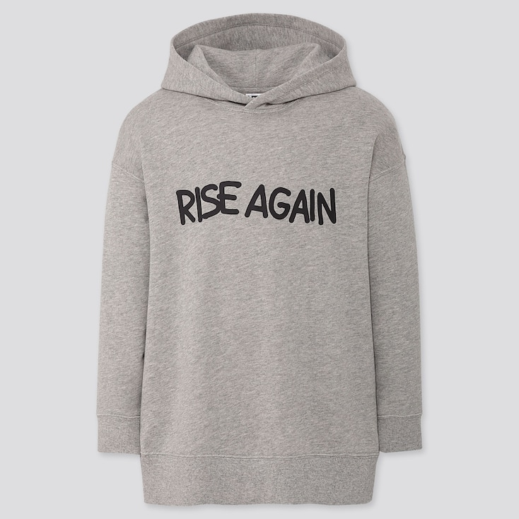 GIRLS RISE AGAIN BY VERDY SWEAT LONG-SLEEVE HOODIE TUNIC, GRAY, large