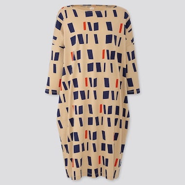 WOMEN COLOR AND RHYTHM HELIO OITICICA 3/4 SLEEVE T-SHIRT DRESS, BEIGE, medium