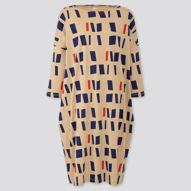 WOMEN COLOR AND RHYTHM HELIO OITICICA 3/4 SLEEVE T-SHIRT DRESS, BEIGE, large