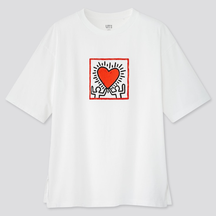 Women Crossing Lines Ut Keith Haring (Short-Sleeve Graphic T-Shirt), White, Large