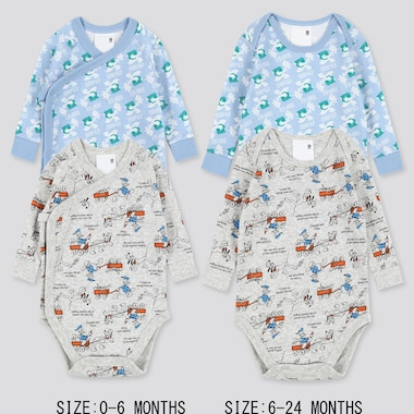 Newborn Disney Stories Crew Neck Bodysuit (Set Of 2), Light Gray, Medium