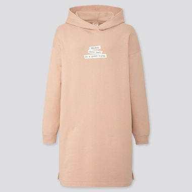 Women Disney Stories Hooded Sweat Dress, Beige, Medium