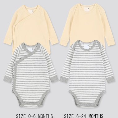 Newborn Crew Neck Long-Sleeve Bodysuit (Set Of 2), Gray, Medium