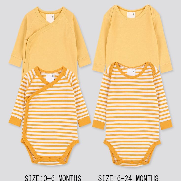 Newborn Crew Neck Long-Sleeve Bodysuit (Set Of 2), Yellow, Large