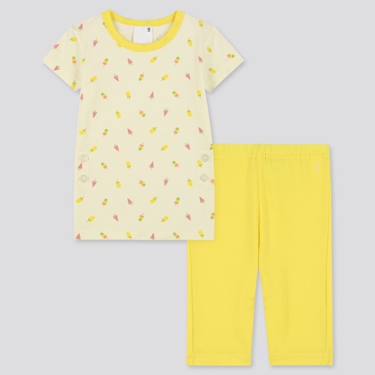 Toddler Dry Short-Sleeve Pajamas, Yellow, Large